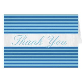 Cartão Listrado azul com linha branca obrigado de Lite
