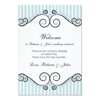 Cartão listrado azul da boa vinda do casamento do convites personalizados