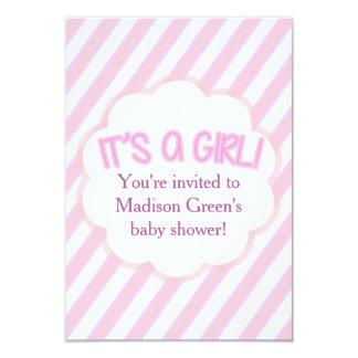 Cartão listrado do convite do chá de fraldas da
