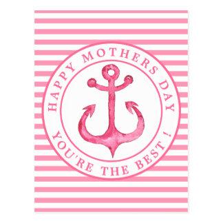 Cartão listrado do dia das mães da âncora
