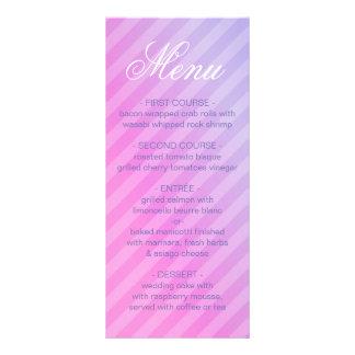Cartão listrado do menu do Lilac elegante do rosa