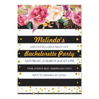 Cartão listrado preto & branco da festa de convite 12.7 x 17.78cm