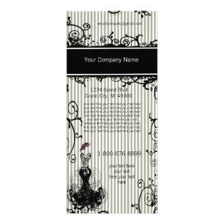Cartão listrado rodado preto e branco da cremalhei modelo de panfleto informativo