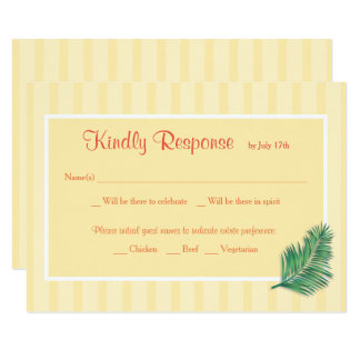 Cartão Listras amarelas florais tropicais que Wedding o