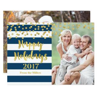 Cartão Listras azuis boas festas 2017 dos confetes do