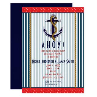 Cartão Listras azuis brancas vermelhas & pontos da âncora