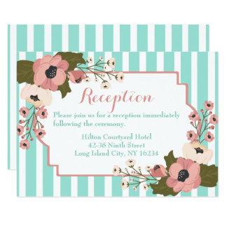 Cartão Listras azuis da hortelã da recepção de casamento
