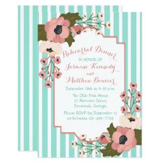 Cartão Listras azuis da hortelã floral do jantar de