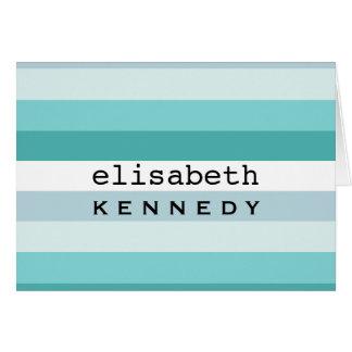 Cartão Listras azuis do Aqua da caixa de Tiffany