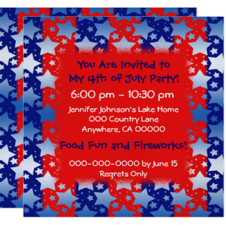 Cartão Listras azuis vermelhas das estrelas brancas azuis