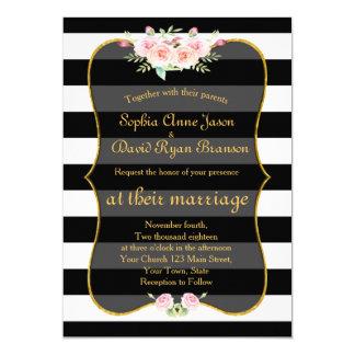 Cartão Listras brancas do preto floral boémio do ouro que