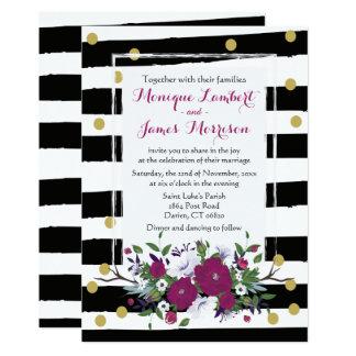 Cartão Listras brancas do preto floral roxo do casamento,