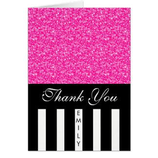 Cartão Listras brancas pretas e obrigado cor-de-rosa do
