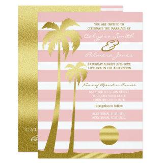 Cartão Listras cor-de-rosa das palmeiras do brilho do