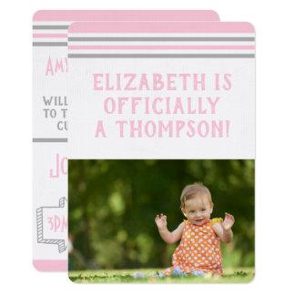 Cartão Listras cor-de-rosa do partido da adopção &