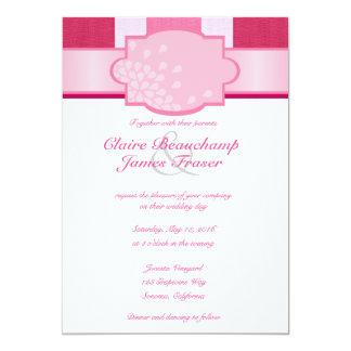 Cartão Listras cor-de-rosa que Wedding
