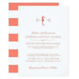 Cartão Listras corais do cavalo marinho | que Wedding o