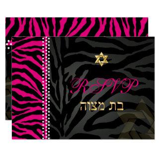 Cartão Listras da zebra do rosa do rsvp de PixDezines,