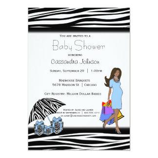Cartão Listras da zebra e mamães azuis do afro-americano