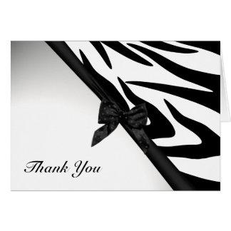 Cartão Listras da zebra e obrigado que da fita você nota