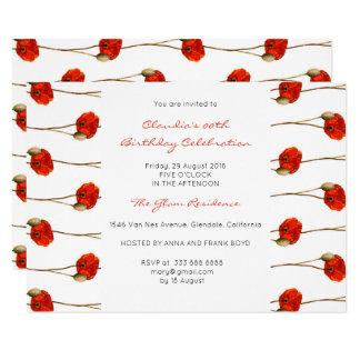 Cartão Listras delicadas brancas da papoila vermelha Glam