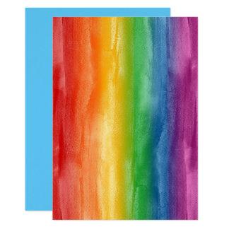 Cartão Listras do arco-íris da aguarela