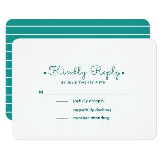 Cartão Listras do branco de turquesa | que Wedding