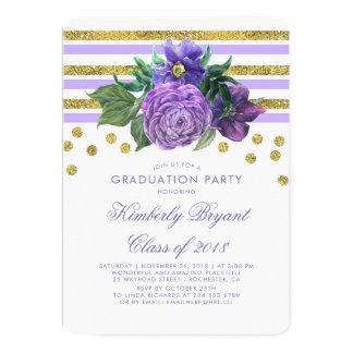 Cartão Listras do ouro e festa de formatura floral roxa