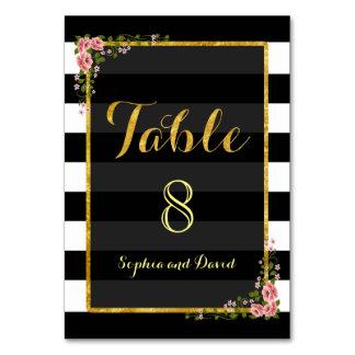 Cartão Listras do preto da folha de ouro que Wedding o