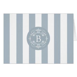Cartão Listras do toldo do azul francês com monograma