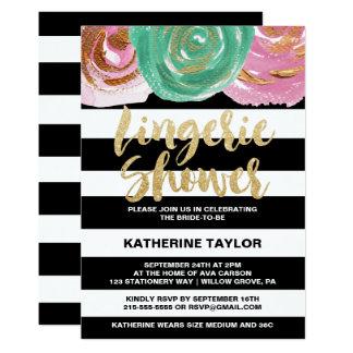 Cartão Listras e chá brancos pretos da lingerie do texto