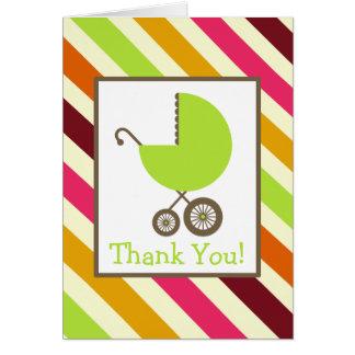 Cartão Listras & obrigado verde do chá de fraldas da