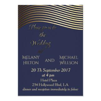 Cartão Listras onduladas do olhar dourado elegante do art