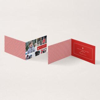 Cartão Listras personalizadas do vermelho do Xmas da