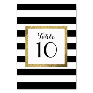 Cartão Listras pretas & brancas com a mesa do casamento