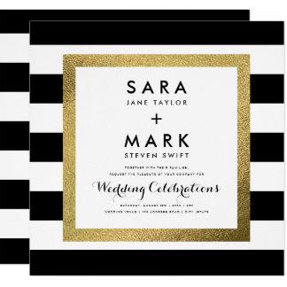 Cartão Listras pretas & brancas com casamento da folha de
