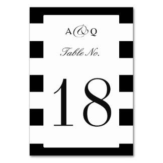 Cartão Listras pretas corajosas que Wedding o número da