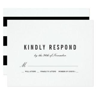 Cartão Listras pretas corajosas que Wedding RSVP