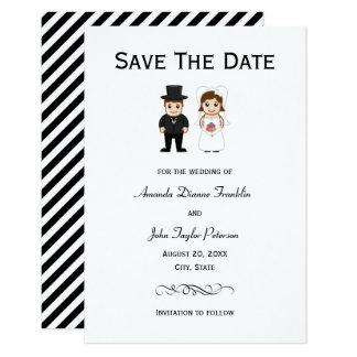 Cartão Listras pretas da noiva & do noivo - 3x5 salvar a