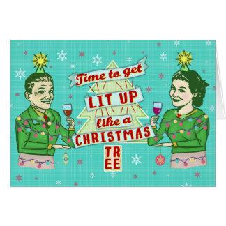 Cartão Lit retro do casal do humor do bebendo do Natal
