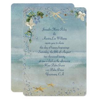 Cartão litoral de turquesa com estrela do mar e bolhas