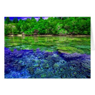 Cartão Litoral tropical do recife de corais