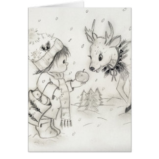Cartão Little Boy e rena