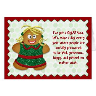 Cartão livre do Natal do esforço engraçado