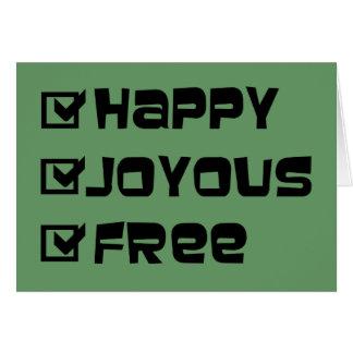 Cartão Livre feliz feliz