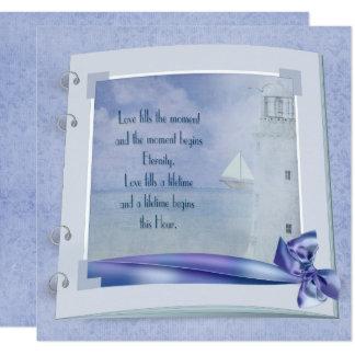 Cartão Livro náutico do casamento
