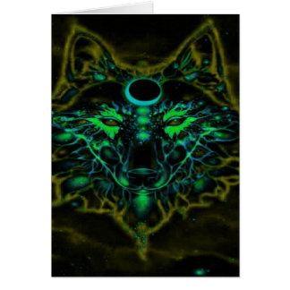 Cartão Lobo amarelo de néon Mythical