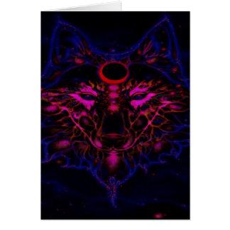Cartão Lobo azul de néon Mythical