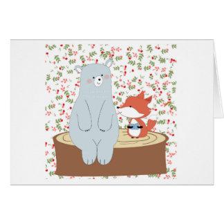 Cartão Lobo bonito da raposa do verão do primavera do