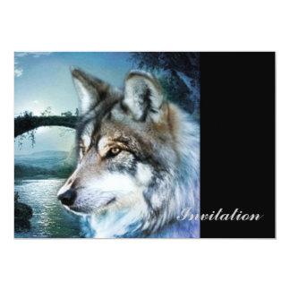 Cartão lobo da Lua cheia do luar da floresta da floresta
